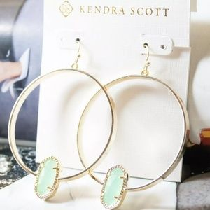 """Kendra Scott """"Elora"""" Gold & Green Hoop Earrings"""